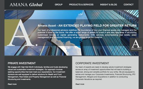 Screenshot of Home Page amanaglobal.com - Amana Global | Home - captured Oct. 4, 2014