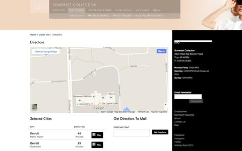 Screenshot of Maps & Directions Page thesomersetcollection.com - Directions   The Somerset Collection - captured Sept. 22, 2014