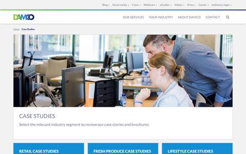Screenshot of Case Studies Page damco.com - Case Studies - captured Jan. 17, 2016