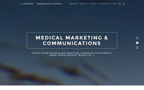 Screenshot of Home Page medengine.fi - HOME / MedEngine:MedEngine | Research Services / Medical Communication / Medical Affairs and Meetings - captured Dec. 21, 2015