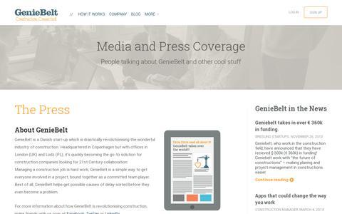 Screenshot of Press Page geniebelt.com - Press |  GenieBelt - captured July 19, 2014