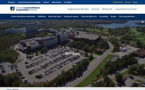Screenshot of Services Page laurentienne.ca - Université Laurentienne | Services - captured Oct. 26, 2018