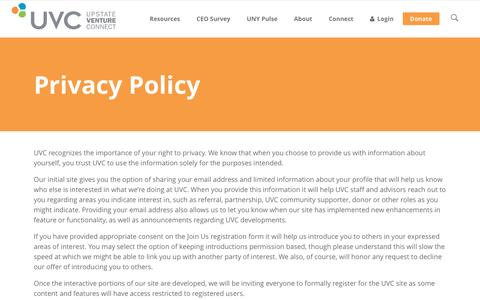Screenshot of Privacy Page uvc.org - Privacy Policy - Upstate Venture Connect - captured Oct. 3, 2016