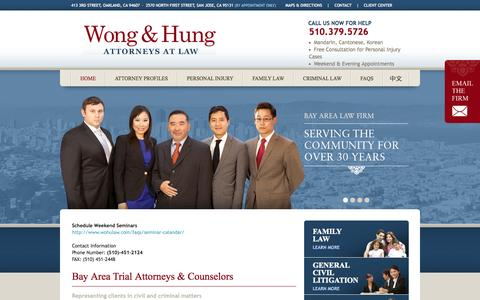 Screenshot of Home Page Contact Page Site Map Page Maps & Directions Page wohulaw.com - Wong & Hung: Trial Attorneys - captured Oct. 7, 2014