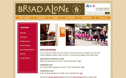 Screenshot of Locations Page breadalone.com - Our Locations | Bread Alone Bakery - captured Oct. 5, 2014
