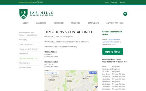 Screenshot of Maps & Directions Page fhcds.org - Directions  & Contact Info - Far Hills Country Day School - captured Nov. 25, 2016