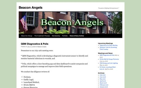 "Screenshot of Press Page beaconangels.com - News & News Archive | Beacon Angels | ""Investors Helping Entrepreneurs"" - captured July 28, 2016"