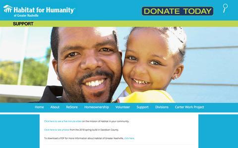 Screenshot of Support Page habitatnashville.org - Support   Habitat Nashville - captured Sept. 26, 2018