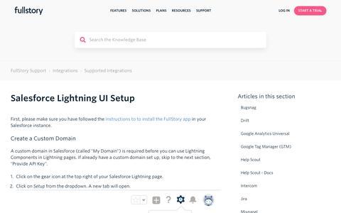 Screenshot of Support Page fullstory.com - Salesforce Lightning UI Setup – FullStory Support - captured Feb. 5, 2020