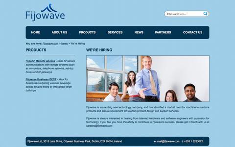 Screenshot of Press Page fijowave.com - We're Hiring | Fijowave.com - captured Nov. 25, 2016