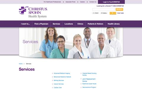 Screenshot of Services Page christusspohn.org - Services - captured Nov. 5, 2016