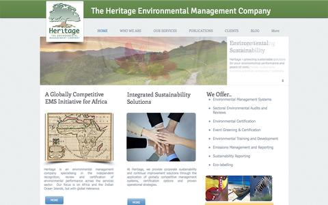 Screenshot of Home Page heritagesa.co.za - Heritage Environmental Management and Certification - captured Aug. 1, 2017