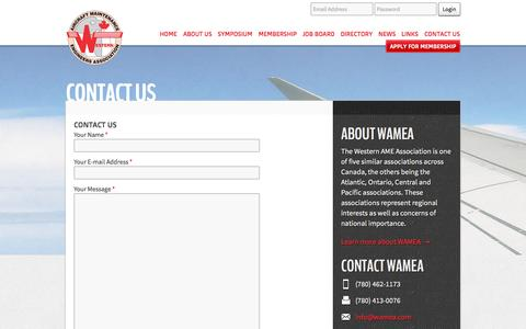 Screenshot of Contact Page wamea.com - Contact Us | WAMEA - captured Oct. 8, 2014