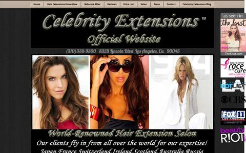 Screenshot of Home Page celebrityextensions.com - Celebrity Extensions | Best Hair Extensions - captured Jan. 26, 2016