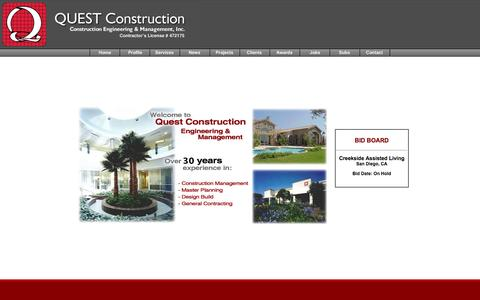 Screenshot of Home Page questcm.com - Quest Construction :: San Diego General Contractor - Construction Management - Engineering - captured Oct. 3, 2014