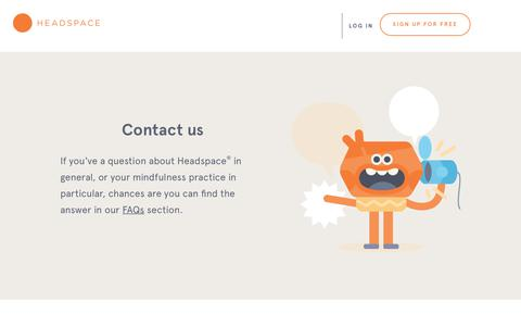 Screenshot of Contact Page headspace.com - Questions about Headspace - captured Oct. 24, 2018