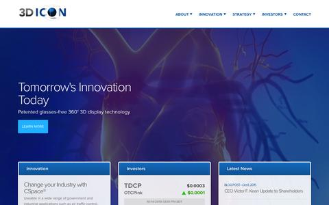 Screenshot of Home Page 3dicon.net - 3DIcon Corporation (TDCP) - captured Oct. 15, 2015