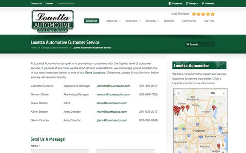 Screenshot of Support Page louettaautomotive.com - Customer Service, Auto Repair Shop, Texas | Louetta Automotive | First Class Service - captured July 23, 2018