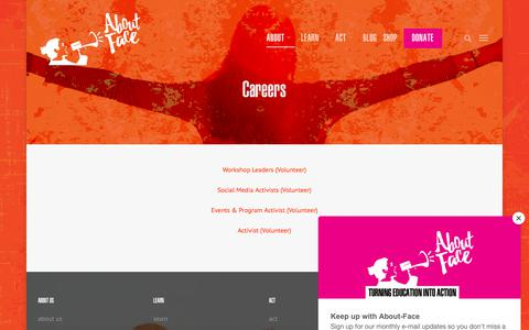 Screenshot of Jobs Page about-face.org - careers – About-Face - captured July 28, 2018