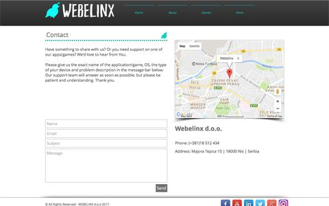 Screenshot of Contact Page webelinx.com - Webelinx | Contact - captured June 19, 2017
