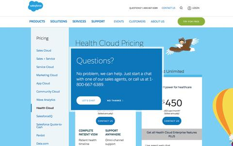 Screenshot of Pricing Page salesforce.com - Editions & Pricing - Health Cloud - Salesforce.com - captured March 9, 2017
