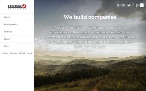 Screenshot of Home Page project-a.com - Project A Ventures - captured Sept. 24, 2014