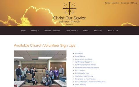Screenshot of Signup Page coslc.com - Church Volunteer Sign-ups - Christ Our Savior Lutheran Church - captured July 1, 2018