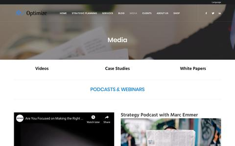 Screenshot of Case Studies Page optimizeinc.net - Case Studies, Whitepapers & Videos on Strategy | Optimize, Inc. - captured Oct. 19, 2018