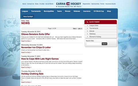 Screenshot of Press Page carhahockey.ca - CARHA Hockey: News Spotlight - captured Dec. 6, 2015