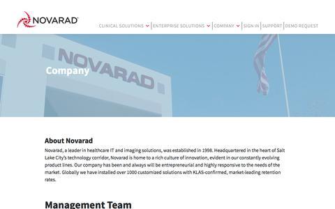 Screenshot of About Page novarad.net - Company | Novarad - captured July 20, 2019