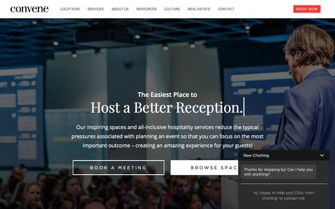Screenshot of Home Page convene.com - Convene - Meeting Rooms, Event Spaces, & Conference Centers - captured Oct. 11, 2017