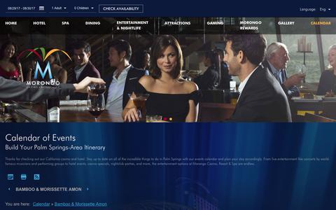 Screenshot of morongocasinoresort.com - Morongo Casino Events | Morongo Casino Resort - captured Aug. 29, 2017
