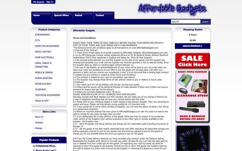 Screenshot of Terms Page affordablegadgets.com - AffordableGadgets.com  - Your one stop shop for Home Gadget Solutions! - captured Oct. 26, 2014