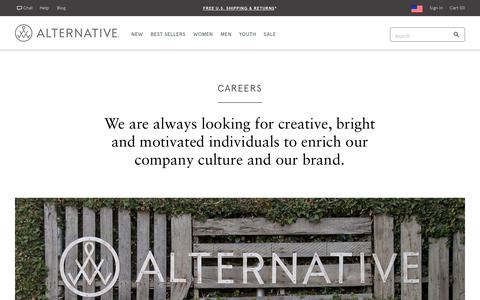 Screenshot of Jobs Page alternativeapparel.com - Careers | Alternative Apparel - captured Feb. 15, 2019