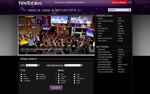 Screenshot of Home Page nitetables.com - NiteTables - captured Sept. 11, 2014