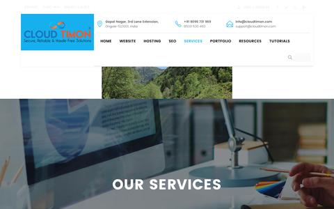 Screenshot of Services Page cloudtimon.com - Services - Web Designing, Web Development, E-commerce Applications - captured July 14, 2016