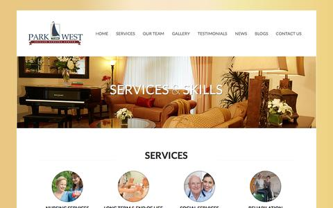 Screenshot of Services Page parkwestcare.com - Services | Park West Care CenterPark West Care Center - captured March 26, 2016