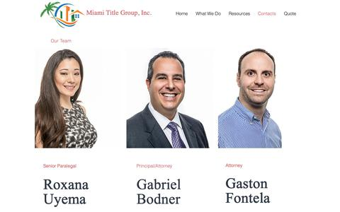 Screenshot of Team Page miamititlegroup.com - Title Insurance Miami | Miami Title Group | Contacts - captured Oct. 18, 2018