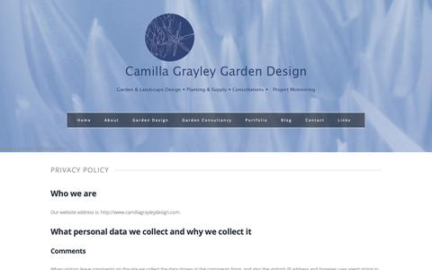 Screenshot of Privacy Page camillagrayleydesign.com - Privacy Policy - - captured Sept. 26, 2018