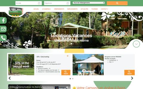 Screenshot of Home Page camping-audinaclesbains.com - Camping Ariege Saint Girons Camping *** - captured March 23, 2017