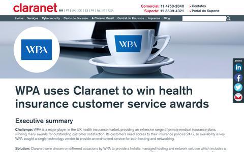 Screenshot of Case Studies Page claranet.com - WPA uses Claranet to win health insurance customer service awards | Claranet BR - captured Nov. 25, 2019