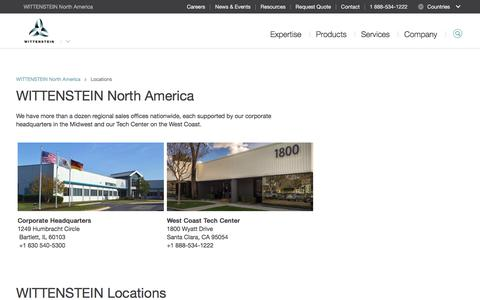 Screenshot of Locations Page wittenstein-us.com - Locations - WITTENSTEIN North America - captured Oct. 19, 2017