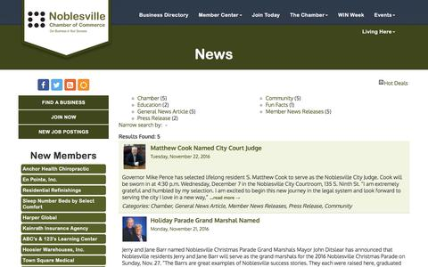 Screenshot of Press Page noblesvillechamber.com - News - Noblesville Chamber of Commerce, IN - captured Nov. 30, 2016
