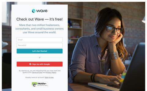 Screenshot of Signup Page waveapps.com - Wave • Sign up for Wave - captured Jan. 20, 2017