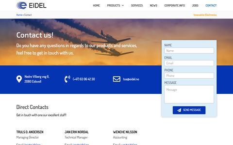 Screenshot of Contact Page eidel.no - Contact - Eidsvoll Electronics - captured Nov. 9, 2018