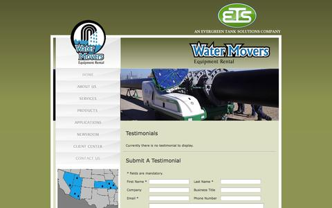 Screenshot of Testimonials Page watermovers.com - Water Movers Reviews | Water Movers - captured Oct. 8, 2014