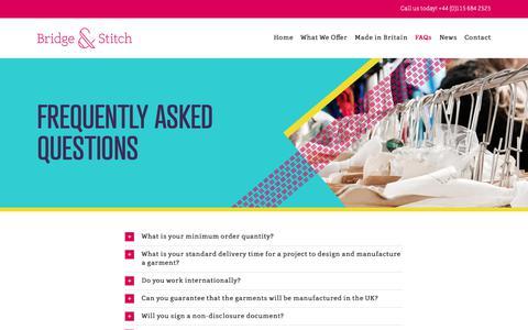 Screenshot of FAQ Page bridgeandstitch.com - FAQ – Bridge & Stitch - captured Oct. 6, 2018