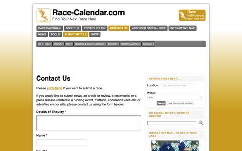 Screenshot of Contact Page race-calendar.com - Contact Us - Race-Calendar.com - captured Oct. 19, 2018