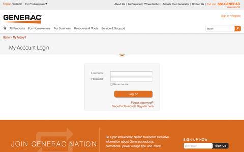 Screenshot of Login Page generac.com - Generac Power Systems | My Account | Generac Power Systems - captured Sept. 25, 2014
