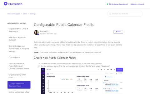 Screenshot of Support Page outreach.io - Configurable Public Calendar Fields – Outreach Support - captured Dec. 11, 2018